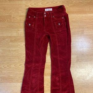 Red corduroy bell bottom pants